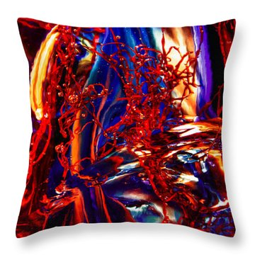 Glass Macro Abstract Flames Throw Pillow by David Patterson