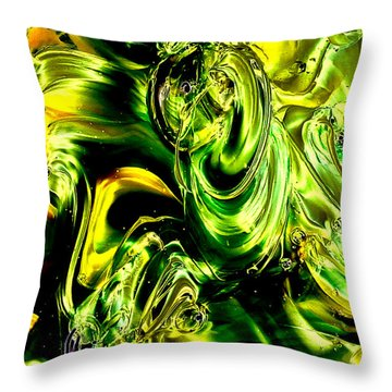 Glass Macro Abstract - Greens And Yellows Throw Pillow by David Patterson