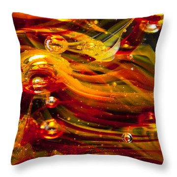 Glass Macro Abstract - Molten Fire Throw Pillow by David Patterson