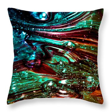 Glass Macro Abstract Rb3ce Throw Pillow by David Patterson