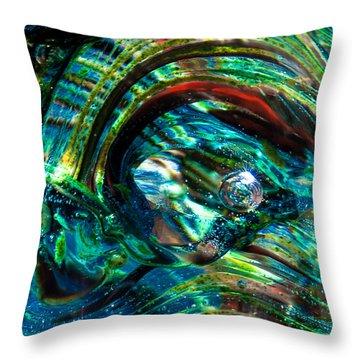 Glass Macro - Blue Green Swirls Throw Pillow by David Patterson