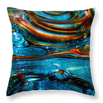 Glass Macro - Blue Swirls Throw Pillow by David Patterson