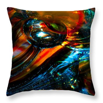 Glass Macro - Blues And Orange Throw Pillow by David Patterson