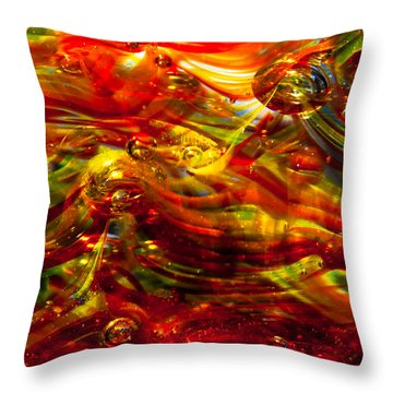 Glass Macro - Burning Embers Throw Pillow by David Patterson