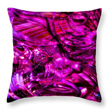 Glass Macro - Hot Pinks Throw Pillow by David Patterson