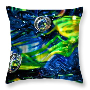 Glass Macro - Seahawks Blue And Green -13e4 Throw Pillow