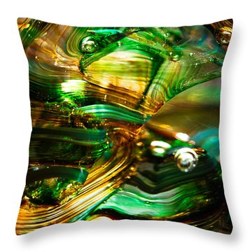 Glass Macro - Waves Of Amber Throw Pillow by David Patterson