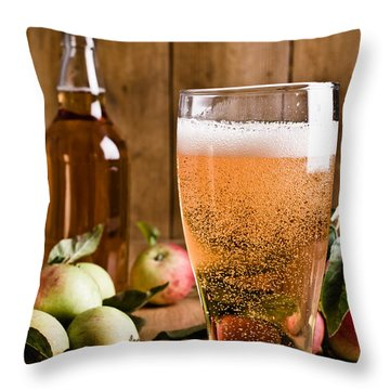 Glass Of Cyder Throw Pillow by Amanda Elwell
