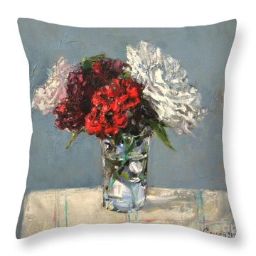 Glass Of Flowers Throw Pillow