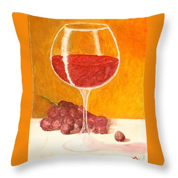 Glass Of Grapes Throw Pillow