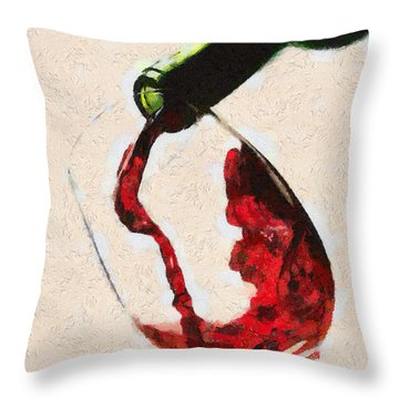Glass Of Red Wine Throw Pillow by Georgi Dimitrov