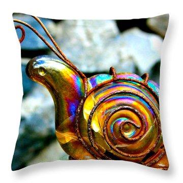 Glass Snail Garden Art Throw Pillow by Karon Melillo DeVega