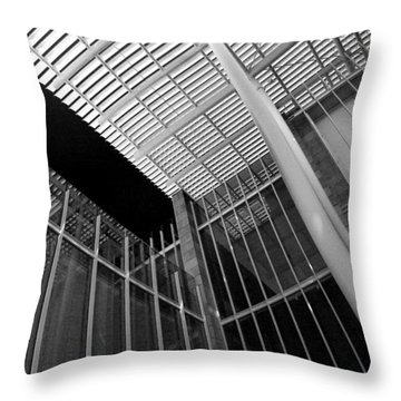 Glass Steel Architecture Lines Black White Throw Pillow