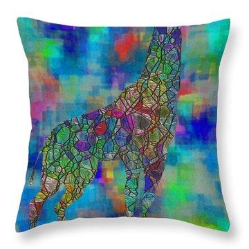Glassed Giraffe Throw Pillow by Jack Zulli