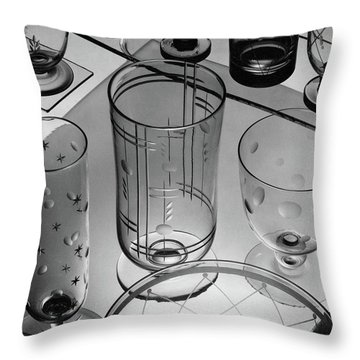 Glasses And Crystal Vases By Walter D Teague Throw Pillow