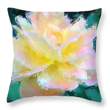 Glazed Pale Pink And Yellow Rose  Throw Pillow
