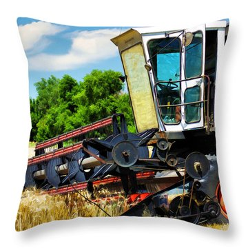 Gleaner F Combine Throw Pillow