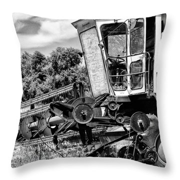 Gleaner F Combine In Black-and-white Throw Pillow