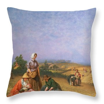 Gleaning Throw Pillow by George Elgar Hicks