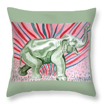 Gleeful Elephant Throw Pillow