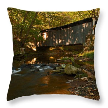 Glen Hope Covered Bridge Throw Pillow