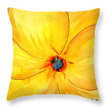 Throw Pillow featuring the painting Glicee Cyan-a-floral by Clayton Bruster