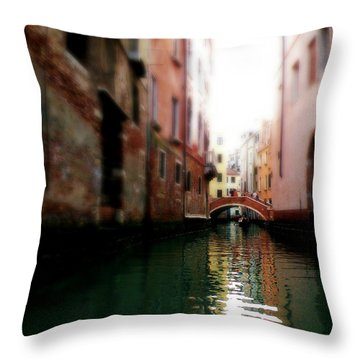 Gliding Along The Canal  Throw Pillow