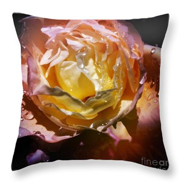 Glistening Rose Throw Pillow