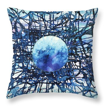 Throw Pillow featuring the painting Global Net by Joan Hartenstein