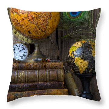 Globes And Old Books Throw Pillow by Garry Gay