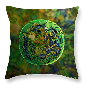 Globing Earth Irises Throw Pillow