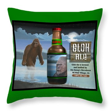 Throw Pillow featuring the digital art Gloh Ale by Stuart Swartz