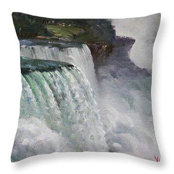 Gloomy Day At Niagara Falls Throw Pillow