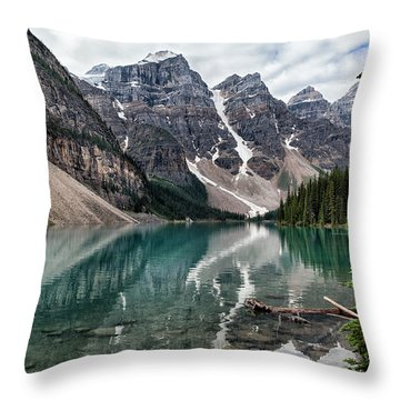 Gloomy Day On Moraine Lake Throw Pillow