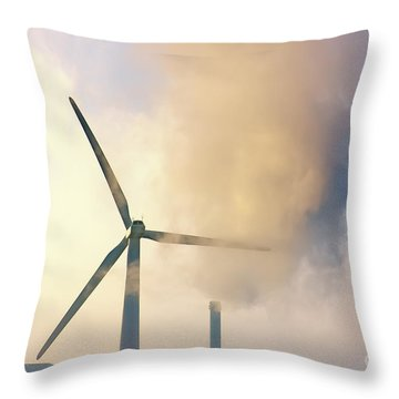 Gloomy Industrial View. Throw Pillow