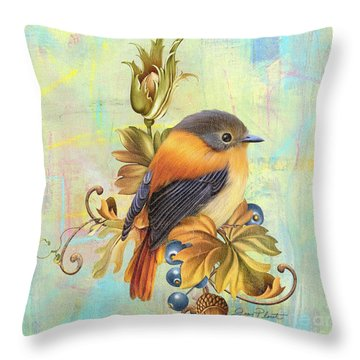 Glorious Birds On Aqua-a2 Throw Pillow by Jean Plout
