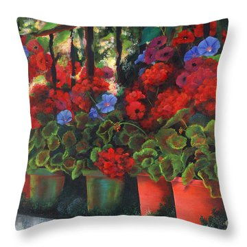 Glorious Geraniums Throw Pillow