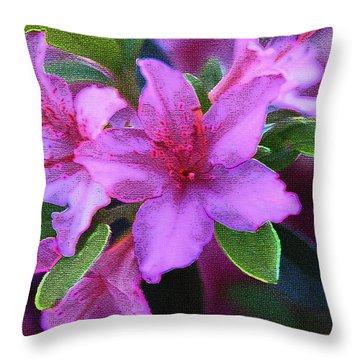 Glorious Pink Azaleas Throw Pillow