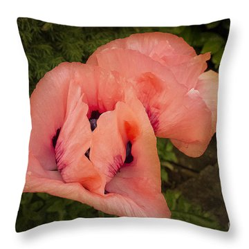 Glorious Pink Poppies Throw Pillow