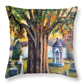 Throw Pillow featuring the painting Glorious Sunset At Mt. Feake Cemetery by Rita Brown