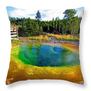 Glory Pool Yellowstone National Park Throw Pillow