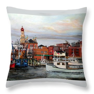 Gloucester Harbor Throw Pillow by Eileen Patten Oliver