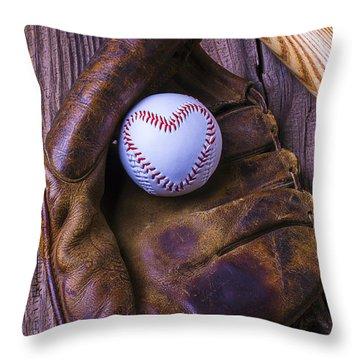 Glove And Heart Baseball Throw Pillow by Garry Gay