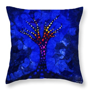 Glow Tree Blue Throw Pillow by Pixel Chimp