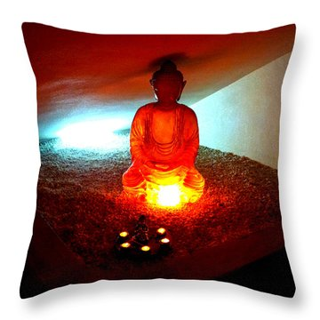 Glowing Buddha Throw Pillow