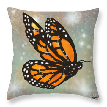 Glowing Butterfly Throw Pillow by Audra D Lemke
