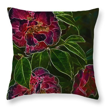 Glowing Camellia Throw Pillow