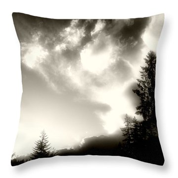 Glowing Clouds Throw Pillow by Adria Trail