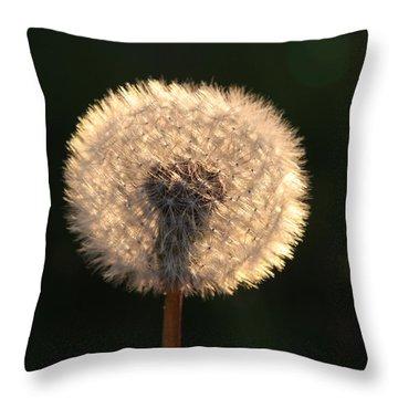 Glowing Dandelion Clock Throw Pillow