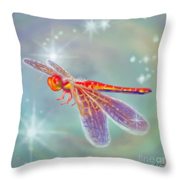 Glowing Dragonfly Throw Pillow by Audra D Lemke
